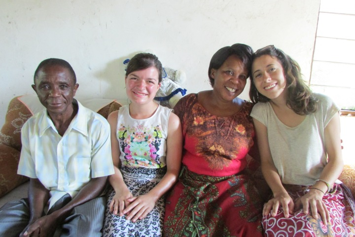 Emanuela and I in our khangas with Moses' parents, Sylvester and Jenny.